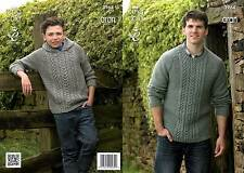 King Cole 3964 Knitting Pattern Cabled Sweater and Hoodie in Fashion Aran