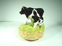 OTAGIRI MUSICAL FIGURINE VTG A HOLSTEIN COW W/ HER CALF=PLAYS-U LIGHT UP MY LIFE