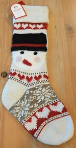 New Pottery Barn Kids Classic Fair Isle SNOWMAN FACE Christmas Holiday Stocking
