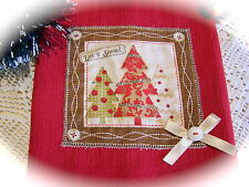 Red Xmas kitchen tea towel CHRISTMAS TREES, New Decorative DISH TOWEL
