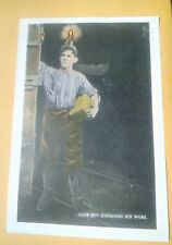 1907 Coal Mine Mining Door Boy Finishing His Shift With Lamp And Lunch Box Print