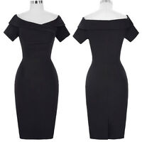 1950s Plus Size Short Sleeve Off Shoulder Bodycon Hips-Wrapped Pencil Dress 4-18