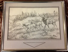 Mel Counseller Pencil Drawing Deer Elk Framed Matted Signed 1988 Zane Gray