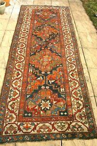 Antique HANDMADE Caucasian Kazak runner 290 x 110 cm