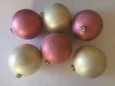 "Christmas Ornaments 5.5"" Set of 6 Glass Vintage"