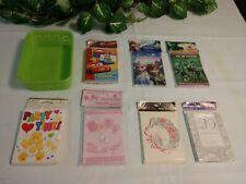 7 Packs Vintage Misc. Packs Cards & Invitations with Basket Storage, Collectible