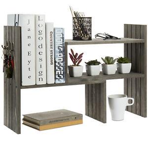 MyGift Vintage Gray Wood Adjustable Desktop Bookcase Corner Shelf with 3 Hooks