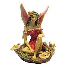 "9"" Red Fairy of Acorn Hollow Figure Statue Outdoor Garden Decor Figurine"