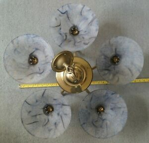 Christopher Wray 5 Bulb Brass Chandelier - BC Bulb Fittings