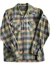 Pendleton 100% Virgin Wool Men's Long Sleeve Flannel Medium Plaid Shirt (HOLES)