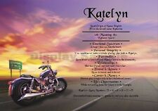 Unique Name Meaning Certificate Children or Adult Harley Bike Birthday, Occasion