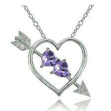 Sterling Silver Amethyst and White Topaz Heart & Arrow Necklace