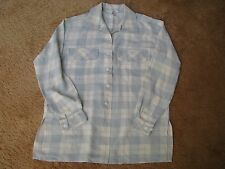 Debra DeRoo Pale Blue & Ivory White Plaid Long Sleeve Blouse 100% Silk Sz S NWOT