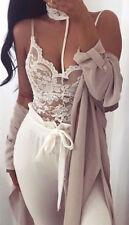 NEW Womens Ladies Choker Lace Bodysuit Leotard Top 8-14