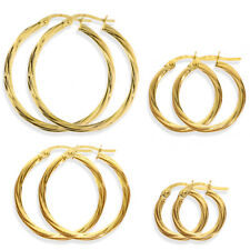 9CT GOLD HOOP EARRINGS 3MM CABLE TWIST CREOLE TUBE RIBBED PATTERN RIBBON SLEEPER