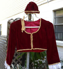 2 Pc Dk Red Velvet Greek Costume Coat & Round Hat w/Tassel, Lace, & Gold Trim
