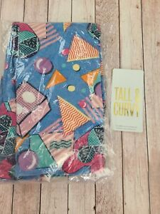 NWT LuLaRoe TC Disney Leggings Multi Color Geometric Mickey Mouse On Blue