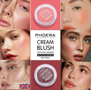 PHOERA® Cream Blush Natural Cheek Blendable Blusher Sweat-Resistant Non-Greasy