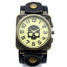 Vintage Retro Skull Black Leather Bracelet Quartz Wrist Watch Cool Boy Men Gift