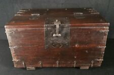 "Vintage Hvy Dovetailed Wood Box With Hand Forged Hardware 22.5""x14""x13.2"" VFINE"