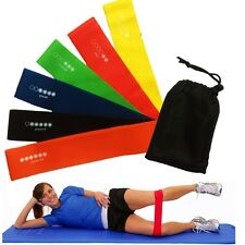 6 livello Bande di Resistenza Esercizio Loop PALESTRA FITNESS LATTICE NATURALE Set di 6 Band