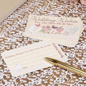 Wedding Wishes Cards x 25 - Wedding Guest Book Alternative