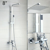 Bathroom Ultra Thin Shower Head Tub Sink Mixer Faucet & Hand Held Sprayer Set