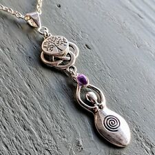 Celtic Knot, Tree of Life & amethyst Large Goddess Pendant Chakra Wicca Pagan