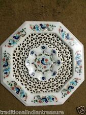 """12"""" White Marble Side Coffee Table Top Inlaid Marquetry Handicraft Filigree Art"""