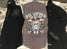 Lot Of (3) Rock And Roll Button Up Shirts English Laundry, Fender, Def Leppard.