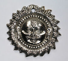 **Beautiful** Silver Coloured Metal Indian Sun God Wall Plaque Mask 10.5cm