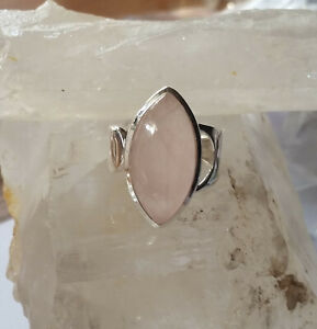 528 Rose Quartz Solid 925 Sterling Silver Marquis Gemstone Ring sz P/S rrp$120