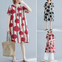 ZANZEA Women Plus Size Polka Dot Sundress Short Sleeve Knee Length Shift Dress