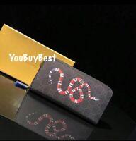 NEW!Snake Print wallet women Long Zipper Around Card Holder bag black gift