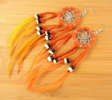 Orange Bohemian Dream Catcher Extra Long Dangle Feather Earrings #B281