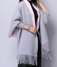 Frauen Kaschmir Poncho Strickjacke Strickpullover Mantel Oversize grau/rosa