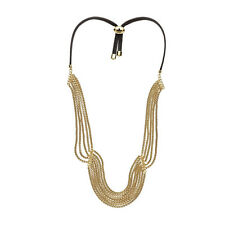 Fossil BRAND Gold Tone Modern Heirloom Multi Chain Leather Necklace