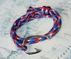 Nautical Rope bracelet - Fish Hook :: Red White & Blue - gifts for sailors