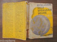 Rivelazioni sullo spionaggio inglese spie Roberto Boucard Edizioni Minerva 1935