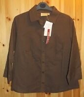 Adini 100% cotton dobby weave shirt jacket 3/4 sleeves collar and button front