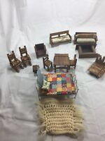 Vintage Doll House Funiture Lot 17 Piece Hand Includes Some Hand Made Piecesr