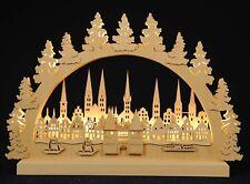 Lichterbogen Schwibbogen Lübeck mit Tanne LED Original Erzgebirge ca 30x40cm