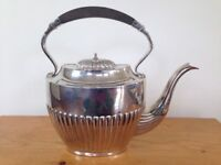 Antique Vintage Alpacca Silverplate Teapot Tea Coffee Kettle Carafe Wood Handle