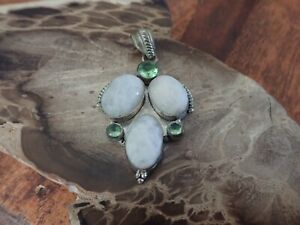 Moonstone and Peridot Sterling Silver Pendant