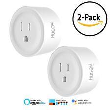 WiFi Smart Outlet, Hugoai Mini Smart Plug 2 Pack, Compatible with Alexa Google