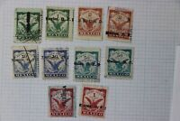Mexico Revenue Timbre 1908-1909 partial used set up to 1p peso color variety