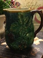 Vintage Majolica Pitcher-Greenery & Floral Pattern-Pottery-FREE SHIPPING-🌝