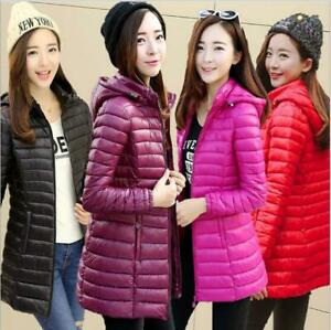 Womens Long Down cotton Jacket Warm Puffer Coat Hooded Parka Female Overcoat