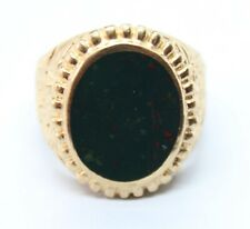 VINTAGE 9CT YELLOW GOLD SIGNET RING WITH BLOODSTONE SIZE T