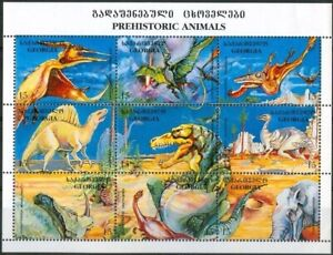 3190 - Georgia - 1995 - Dinosaurs - Block of 9 stamps - MNH - Lemberg-Zp